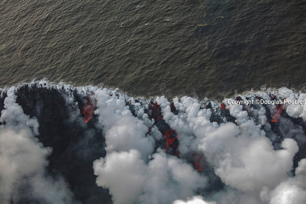 Lava Flowing into Ocean, Kilauea Volcano, Island of Hawaii, Hawaii