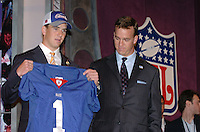 Eli Manning and Payton Manning at the NFL Draft inside Madison Square Garden.<br /> <br /> Eli was the first overall pick in the 2004 NFL Draft by the San Diego Chargers, but immediately traded to the New York Giants