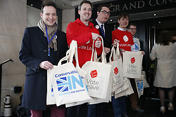 © Licensed to London News Pictures. 08/04/2016. London, UK. Pro and anti Europe campaigners await arrivals at the Conservative Party Spring Forum in central London.  Photo credit: Peter Macdiarmid/LNP