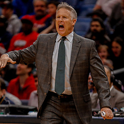 Dec 10, 2017; New Orleans, LA, USA; Philadelphia 76ers head coach Brett Brown against the New Orleans Pelicans during the second half at the Smoothie King Center. The Pelicans defeated the 76ers 131-124. Mandatory Credit: Derick E. Hingle-USA TODAY Sports