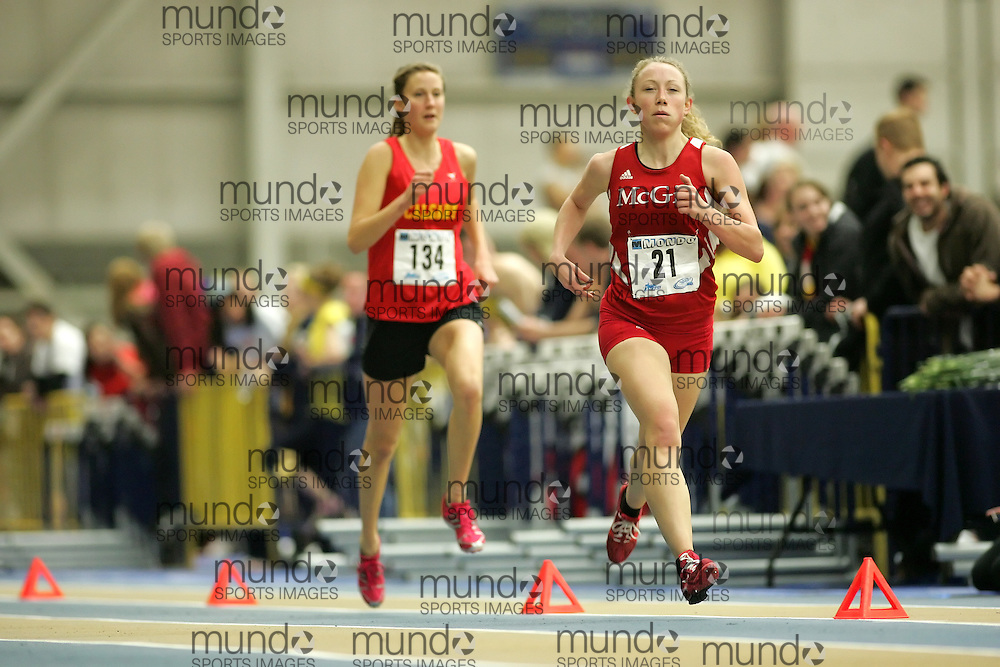 (Windsor, Ontario---12 March 2010) M?lanie Myrand of McGill University Redmen   competes in the 3000m final at the 2010 Canadian Interuniversity Sport Track and Field Championships at the St. Denis Center. Photograph copyright Sean Burges/Mundo Sport Images. www.mundosportimages.com
