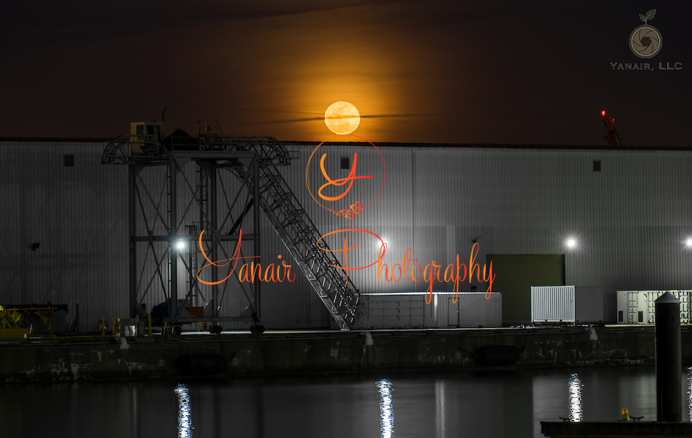 Moonrise at a dock in Winans Cove in Baltimore Maryland Please select Shopping Cart Below to Purchase prints and gallery-wrapped canvases, magnets, t-shirts and other accessories
