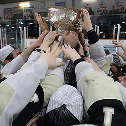 TRENTON, ON  - MAY 6,  2017: Canadian Junior Hockey League, Central Canadian Jr. &quot;A&quot; Championship. The Dudley Hewitt Cup Championship Game between Trenton Golden Hawks and Georgetown Raiders.   Trenton Golden Hawks touch the Dudley Hewitt Cup during post game celebrations<br /> (Photo by Alex D'Addese / OJHL Images)