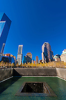 Reflecting pool, National September 11 Memorial & Museum, New York, New York USA.