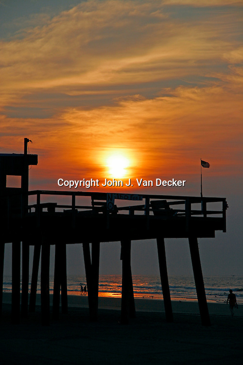 Sunrise over fishing pier