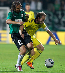 28.07.2011, Keine Sorgen Arena, Ried im Innkreis, AUT, UEFA EL Qualifikation, SV Josko Ried vs Brondby IF, im Bild Stefan Lexa, (SV Josko Ried, #8) und Michael Krohn-Dehli, (Brøndby IF, Midfield, #23) // during football match between SV Josko Ried (AUT) and Brondby IF (DEN) 1st Leg of Europa League third Qualifying Round, on July 28, 2011 at Keine Sorgen Arena Ried im Innkreis, Austria. EXPA Pictures © 2011, PhotoCredit: EXPA/ R. Hackl