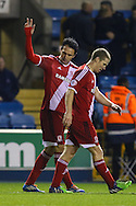 Kike of Middlesbrough (left) celebrates scoring his team's fifth goal against Millwall to make it 1-5 during the Sky Bet Championship match at The Den, London<br /> Picture by David Horn/Focus Images Ltd +44 7545 970036<br /> 06/12/2014