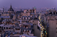 France. Paris. elevated view. saint jacques street and the dome of Sorbone church view from   saint jaques du haut pas church