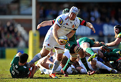 Thomas Waldrom of Exeter Chiefs takes on the Leicester Tigers defence - Photo mandatory by-line: Patrick Khachfe/JMP - Mobile: 07966 386802 28/03/2015 - SPORT - RUGBY UNION - Leicester - Welford Road - Leicester Tigers v Exeter Chiefs - Aviva Premiership
