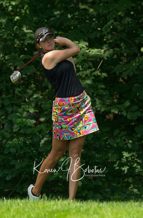 Kim Kaufman tees off during Saturday's round of the Symetra LPGA Tour at Beaver Meadow Golf Course.  (Karen Bobotas/for the Concord Monitor)