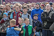 Brighton go close to scoring and the tension on Burnley supporters' faces both young and old shows before the Sky Bet Championship match between Burnley and Queens Park Rangers at Turf Moor, Burnley, England on 2 May 2016. Photo by Mark P Doherty.