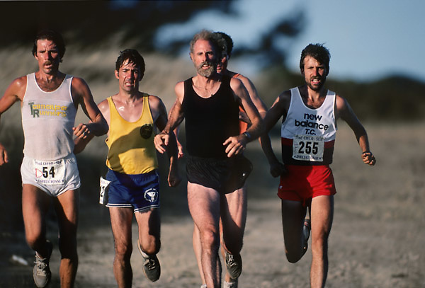 "MARIN COUNTY, CA -  JULY 1983:  Bruce Dern (in black), Garry Bjorklund #225, and other runners compete in the Cielo-Sea race during the making of the movie ""On the Edge"" filmed in July 1983 in Marin County, California. (Photo by David Madison/Getty Images) *** Local Caption *** Bruce Dern;Garry Bjorklund"