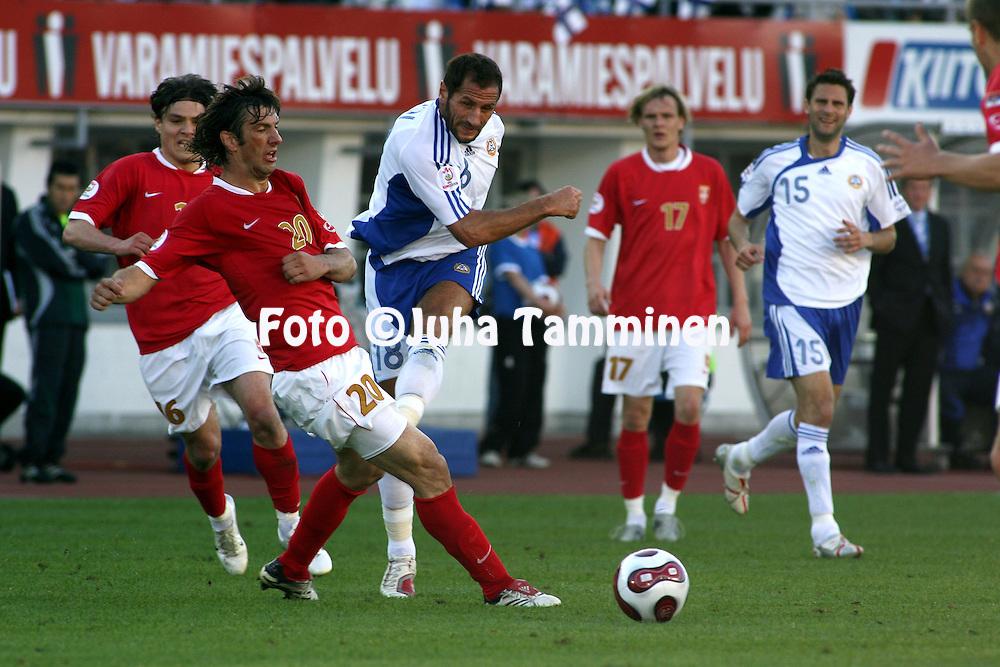 02.06.2007, Olympic Stadium, Helsinki, Finland..UEFA European Championship 2008.Group A Qualifying Match Finland v Serbia.Shefki Kuqi (Finland) v Mladen Krstajic (Serbia).©Juha Tamminen.....ARK:k