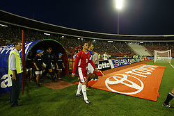 BELGRADE, SERBIA & MONTENEGRO - Wednesday, August 20, 2003: Wales' captain Gary Speed walks out to face Serbia & Montenegro before the UEFA European Championship qualifying match at the Red Star Stadium. (Pic by David Rawcliffe/Propaganda)