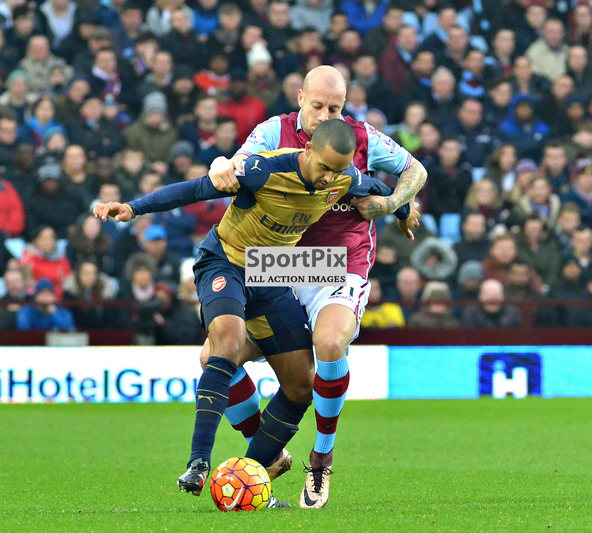 Auld Enemy as Aston Villa's Scottish defender Alan Hutton battles his English opponent Theo Walcoitt.....(c) BILLY WHITE | SportPix.org.uk