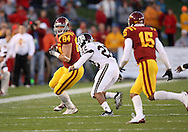 25 OCTOBER 2008: Iowa State tight end Derrick Catlett (84) tries to get around Texas A&M defensive back Trent Hunter (22) after a catch in the first half of an NCAA college football game between Iowa State and Texas A&M, at Jack Trice Stadium in Ames, Iowa on Saturday Oct. 25, 2008. Texas A&M beat Iowa State 49-35.