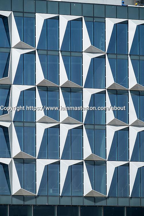 Detail of architecture of windows at new Dubai Design District (d3) in Dubai United Arab Emirates
