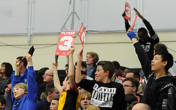Fans hold up cards showing '3' on them - Photo mandatory by-line: Dougie Allward/JMP - Mobile: 07966 386802 - 27/02/2015 - SPORT - basketball - Bristol - SGS Wise Campus - Bristol Flyers v Leeds Force - British Basketball League