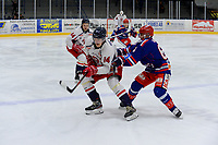 2019-11-27 | Tyringe, Sweden: Tyringe SoSS (61) Zeke Back crosschecks Hanhals (14) Fredrik Johansson during the game in Hockeyettan between Tyringe SoSs and Hanhals Kings at Tyrs Hov ( Photo by: Henrik Eberlund | Swe Press Photo )<br /> <br /> Keywords: Tyringe, Icehockey, Hockeyettan, Tyrs Hov, Tyringe SoSs, Hanhals Kings, Ishockey, TH191127