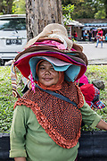 INDONESIA, Central Java, Borobudur Temple, hat seller outside the temple