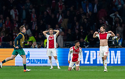 08-05-2019 NED: Semi Final Champions League AFC Ajax - Tottenham Hotspur, Amsterdam<br /> After a dramatic ending, Ajax has not been able to reach the final of the Champions League. In the final second Tottenham Hotspur scored 3-2 / Joel Veltman #3 of Ajax, Noussair Mazraoui #12 of Ajax, Daley Blind #17 of Ajax