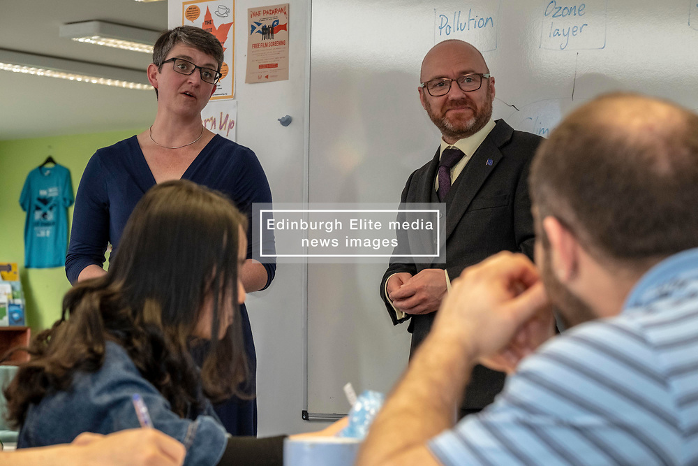 Pictured: Patrick Harvie and Maggie Chapman<br /><br />The Scottish Greens unveiled their list of candidates for the forthcoming EU election in Edinburgh today.<br /><br />The party's Co-Convenor Patrick Harvie MSP introduced the lead candidate, Maggie Chapman, and announced the full list at the Welcoming Association's HQ.  Mr Harvie and Ms Chapman took the opportunity to meet with EU citizens who are new to Edinburgh and learning English at the centre.<br /><br />The full list is as follows:<br />1.    Maggie Chapman<br />2.    Lorna Slater<br />3.    Gillian Mackay<br />4.    Chas Booth<br />5.    Mags Hall<br />6.    Allan Faulds<br /><br />Ger Harley | EEm 25 April 2019