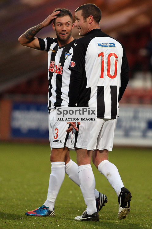 Dunfermline Athletic v Dumbarton Irn Bru First Division East End Park 24 November 2012..Andy Kirk and Jordan McMillan celebrate the comical 2nd goal..(c) Craig Brown | StockPix.eu