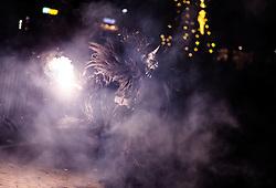 05.12.2016, Kaprun, AUT, Pinzgauer Krampustage im Bild Mitglieder verschiedener Krampusgruppen beim Krampusumzug // A man dressed as a devil performs during a Krampus show. Krampus a mythical creature that, according to legend, accompanies Saint Nicholas during the festive season. Instead of giving gifts to good children, he punishes the bad ones, Kaprun, Austria on 2016/12/05. EXPA Pictures © 2016, PhotoCredit: EXPA/ JFK