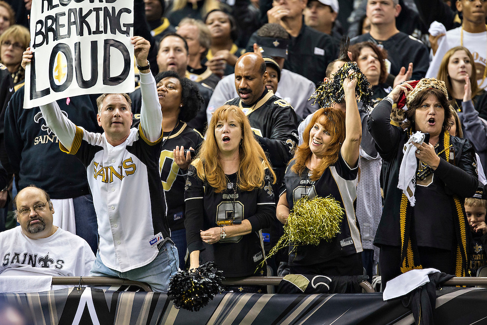 NEW ORLEANS, LA - DECEMBER 8: Fans of the New Orleans Saints during a game against the Carolina Panthers at Mercedes-Benz Superdome on December 8, 2013 in New Orleans, Louisiana.  The Saints defeated the Panthers 31-13.  (Photo by Wesley Hitt/Getty Images) *** Local Caption ***