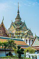 decorated chedi rooftop Wat Pho temple Bangkok Thailand