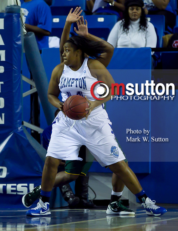 during the Hampton - Norfolk State 2012 MEAC women's basketball game at the Hampton Convocation Center in Hampton, Virginia.  January 21, 2012  Hampton won 92-43.  (Photo by Mark W. Sutton)