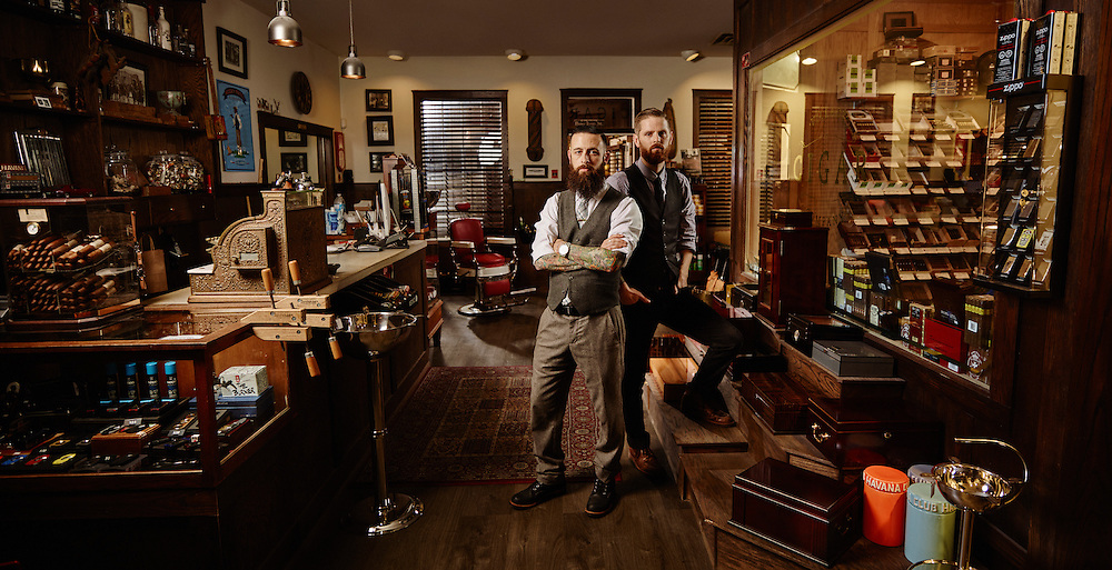 Wide shot of a Vintage Cigar and Barber shop Shot on a PhaseOne IQ180 as a Environmental Portrait.