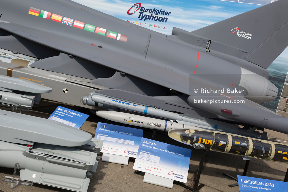 Missile systems for the BAE Systems Typhoon at the Farnborough Airshow, on 16th July 2018, in Farnborough, England. (Photo by Richard Baker / In Pictures via Getty Images)