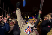 Remain protesters (pro-EU) celebrate in Westminster after the result of MPs' Meaningfull Brexit vote which eventually brought about a massive defeat for Prime Minister Theresa May's Conservative government, on 15th January 2019, in Westminster, London, England.
