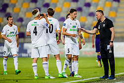 Heimir Gudjonsson head coach of FH Hafnarfjirdur  and Bergsveinn Olafsson #5 of FH Hafnarfj?rdur  during 1st Leg football match between NK Maribor (SLi) and FH Hafnarfjordur (ISL) in Third qualifying round of UEFA Champions League 2017/18, July 26, 2017, in Stadium Ljudski vrt, Maribor, Slovenia. Photo by Grega Valancic / Sportida