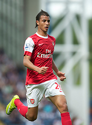 BLACKBURN, ENGLAND - Saturday, August 28, 2010: Arsenal's Marouane Chamakh in action against Blackburn Rovers during the Premiership match at Ewood Park. (Pic by: David Rawcliffe/Propaganda)