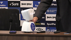 Screen grab taken from PA Video of Everton manager Sam Allardyce with the telepresence robot mascot used in today's game after the Premier League match at Goodison Park, Liverpool.