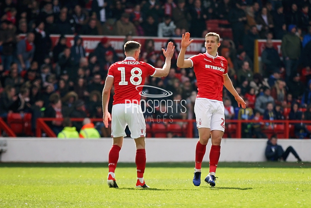 Nottingham Forest midfielder Ryan Yates (22)  celebrates scoring a consolation goal for Forest during the EFL Sky Bet Championship match between Nottingham Forest and Blackburn Rovers at the City Ground, Nottingham, England on 13 April 2019.