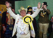 © Licensed to London News Pictures. 01/03/2013. Eastleigh, UK Howling Laud Hope of the Monster Raving Loony William Hill Party arrives at the count centre. Campaigning in the weeks ahead of The Liberal Democrats winning the Eastleigh by-election, with the UK Independence Party pushing the Conservatives into third place.. Photo credit : Stephen Simpson/LNP