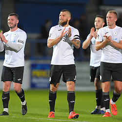 TELFORD COPYRIGHT MIKE SHERIDAN Bucks players Steph Morley, Shane Sutton, Zak Lilly and Jon Royle celebvrate at full time during the National League North fixture between AFC Telford United and Gloucester City at the New Bucks Head Stadium on Tuesday, September 3, 2019<br /> <br /> Picture credit: Mike Sheridan<br /> <br /> MS201920-015