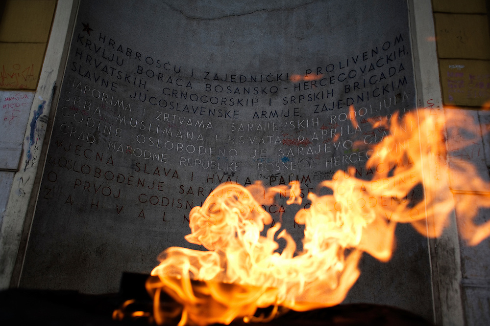 The eternal flame of Sarajevo installed at Marshal Tito and Ferhadija streets in downtown. It is honoring the victims and heroes of World War Two.