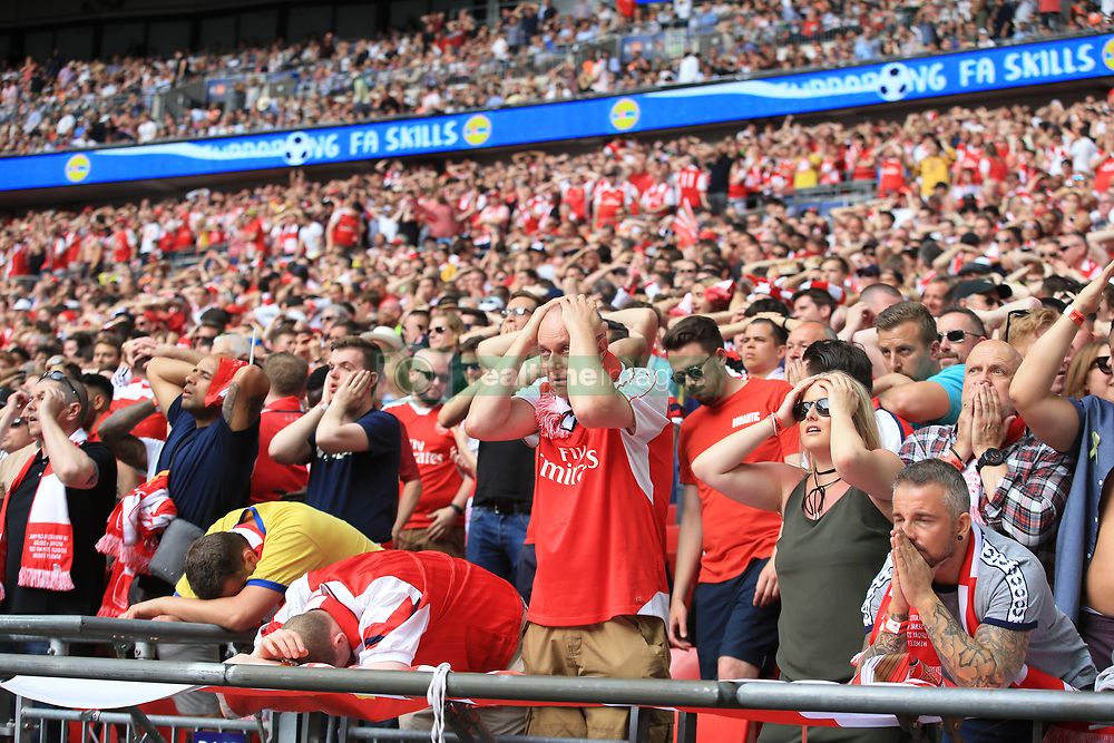 27 May 2017 - Then FA Cup Final - Arsenal v Chelsea - Arsenal fans react after a missed chance - Photo: Marc Atkins / Offside.