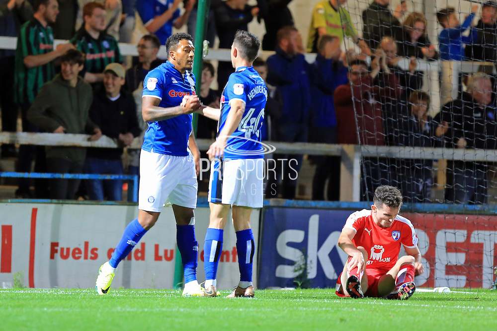 Nathaniel Mendez-Laing celebrates with Ian Henderson 3-1 during the EFL Cup match between Rochdale and Chesterfield at Spotland, Rochdale, England on 9 August 2016. Photo by Daniel Youngs.