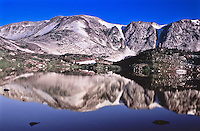 Reflections of Medicine Bow Peak in Lewis Lake of the Snowy Range.  Wyoming, USA.