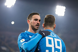 January 13, 2019 - Naples, Campania, Italy - Fabian Ruiz (L)  of SSC Napoli seen celebrating a goal during the Serie A football match between SSC Napoli vs US Sassuolo at San Paolo Stadium. (Credit Image: © Ernesto Vicinanza/SOPA Images via ZUMA Wire)