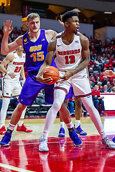NORMAL, IL - December 31: Justin Dahl and Rey Idowu during a college basketball game between the ISU Redbirds and the University of Northern Iowa Panthers on December 31 2019 at Redbird Arena in Normal, IL. (Photo by Alan Look)