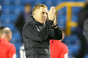 Birmingham City Manager Garry Monk celebrates at full time during the EFL Sky Bet Championship match between Millwall and Birmingham City at The Den, London, England on 28 November 2018.