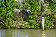 Maidenhead, United Kingdom. General View, GV. No Fishing, warning in the Cut approach to Boulters Lock , Boulters Lock, and the Cut approach to the Lock.<br /> <br /> Friday  06/04/2018<br /> <br /> © Peter SPURRIER<br /> Leica Camera AG M9 Digital Camera. ISO 80    Lens 35mm f8.0 Voigtlander Nokton Classic