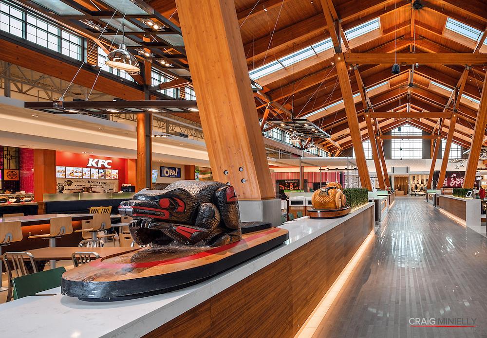 Food Court and Native Arts Sculpture at Tsawwassen Mills Mall