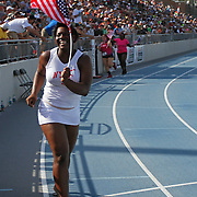 MCCALL - 13USA, Des Moines, Ia. - A victory lap for hammer thrower Jeneva McCall.   Photo by David Peterson
